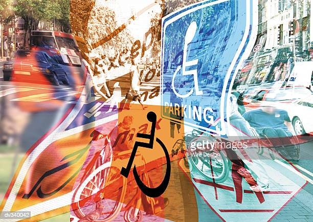 Warped handicapped signs superimposed over busy street