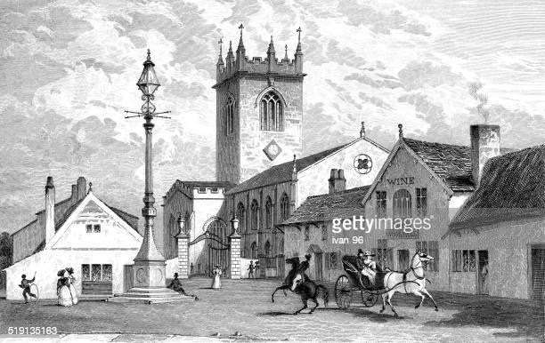 warrington church, lancashire - spire stock illustrations, clip art, cartoons, & icons