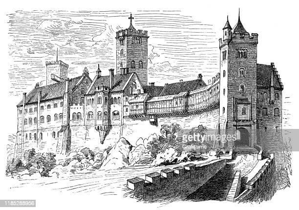 ドイツが12世紀に建てたヴァルトブルク城 - アイゼナッハ点のイラスト素材/クリップアート素材/マンガ素材/アイコン素材