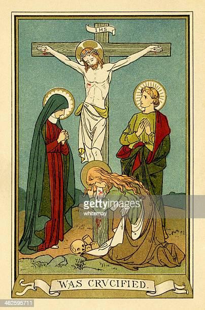 illustrations, cliparts, dessins animés et icônes de a crucified victorien livre (religieux assiette) - la vierge marie