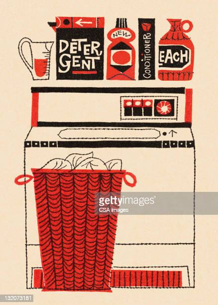washing machine, laundry and soap - cleaning equipment stock illustrations, clip art, cartoons, & icons