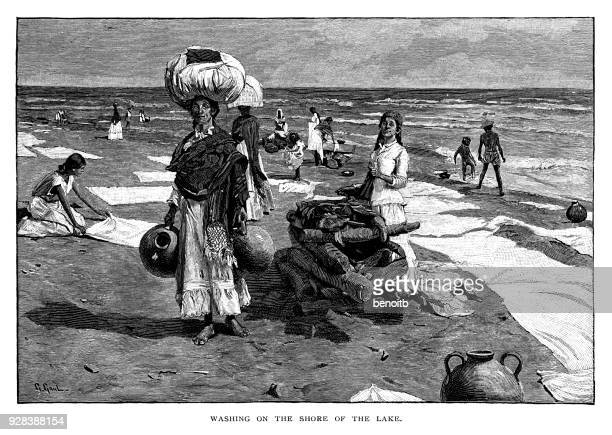 washing on the shore of the lake - währung stock illustrations