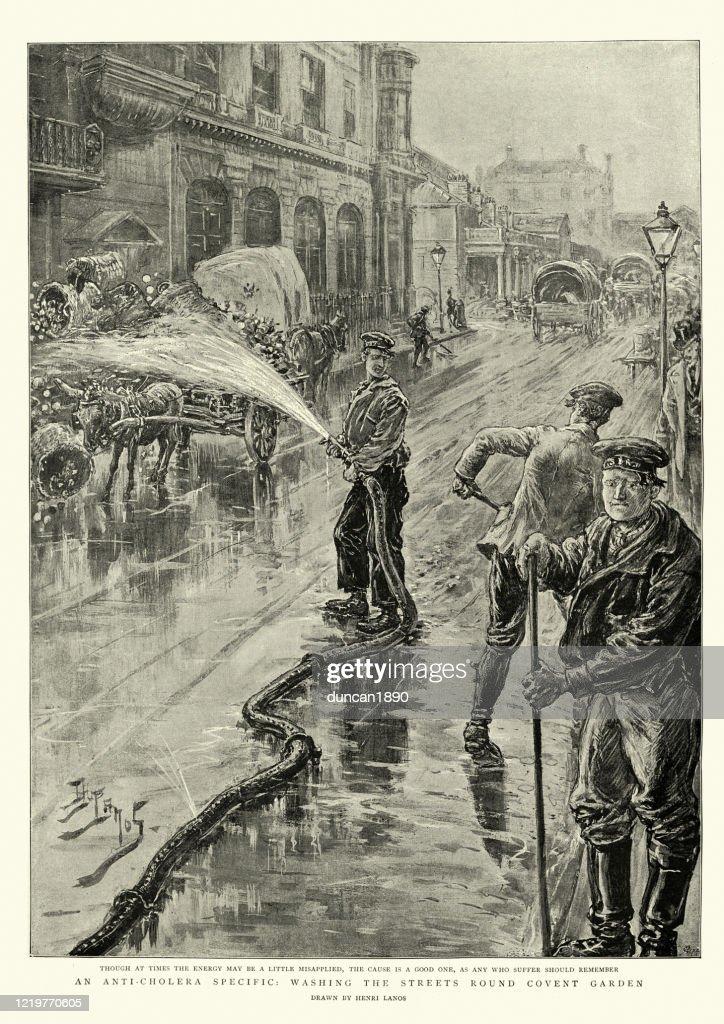 コレラパンデミック中に消毒剤でロンドンの通りを洗う、1890年代 : ストックイラストレーション