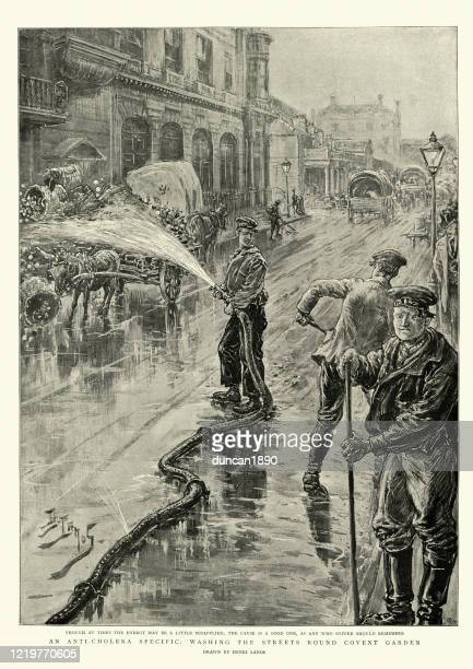 washing streets of london with antiseptic during cholera pandemic, 1890s - history stock illustrations