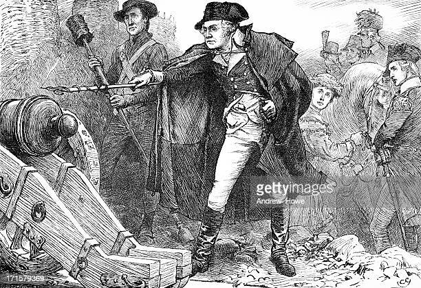 washington at the siege of yorktown engraving - american revolution stock illustrations, clip art, cartoons, & icons