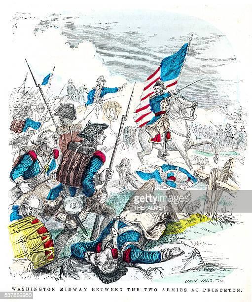 washington battle of princenton engraving 1859 - american revolution stock illustrations, clip art, cartoons, & icons