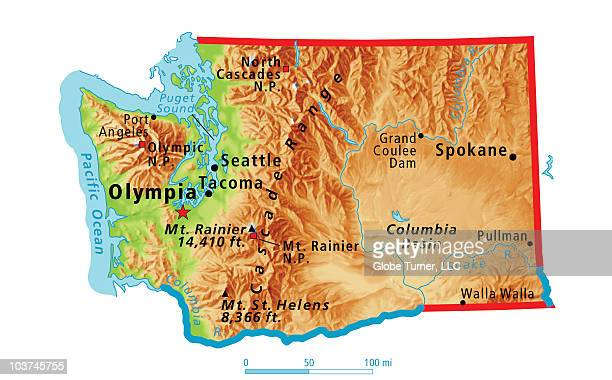 physical map of washington stateのイラスト素材と絵 getty images