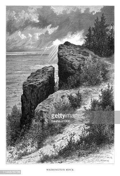 washington rock, new jersey, united states, american victorian engraving, 1872 - natural arch stock illustrations, clip art, cartoons, & icons