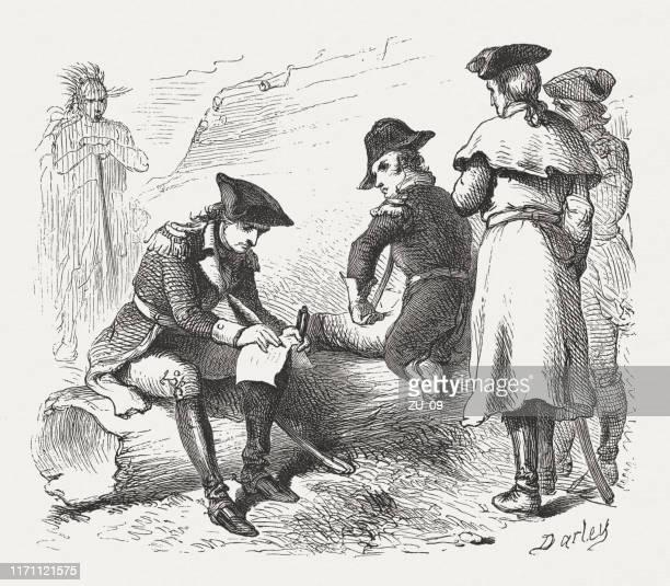 ilustrações, clipart, desenhos animados e ícones de washington assina a rendição no forte necessidade (1754), publicado 1876 - 6 7 anos