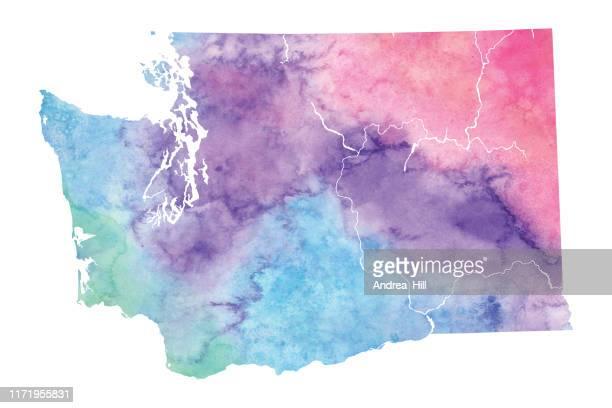 washington state watercolor raster map illustration - teal stock illustrations