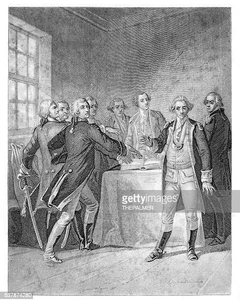 Washington the oath at valley forge engraving 1859