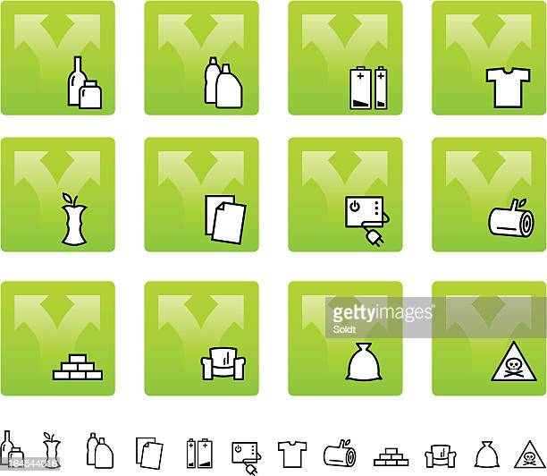 waste separation | garbage icon set - imagem a cores stock illustrations