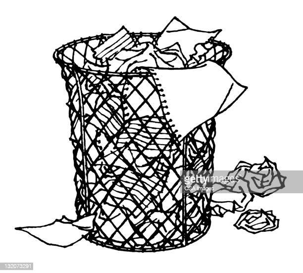 wastebasket - wastepaper basket stock illustrations, clip art, cartoons, & icons
