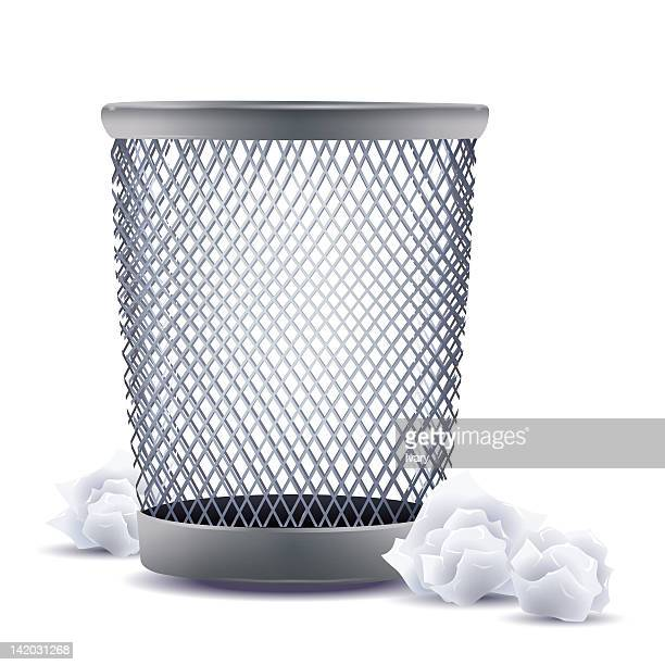 wastepaper basket against white background - wastepaper basket stock illustrations, clip art, cartoons, & icons