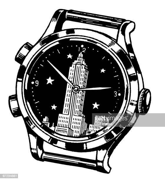 watch - minute hand stock illustrations