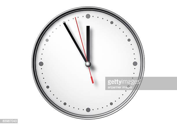 watch pointing at 5 to 12 on white background - clock stock illustrations