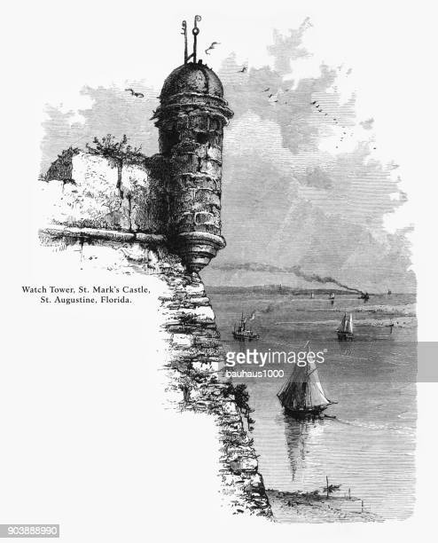 watch tower, st. mark's castle, st. augustine, florida, united states, american victorian engraving, 1872 - spanish culture stock illustrations