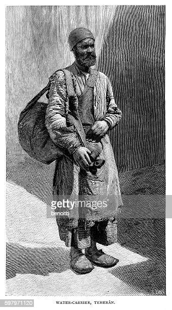 water carrier in teheran - iranian culture stock illustrations, clip art, cartoons, & icons