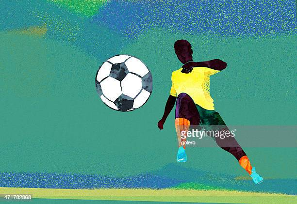 water color soccer player is kicking the ball