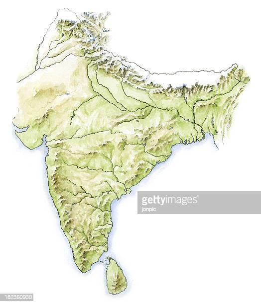 ilustrações de stock, clip art, desenhos animados e ícones de água de cor mapa da índia - nepal