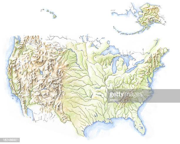 water colour map of north america - contour drawing stock illustrations