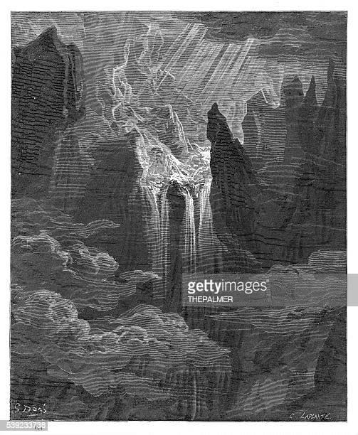 水の落ちるパラダイスロスト彫り込み 1885 年 - 煉獄点のイラスト素材/クリップアート素材/マンガ素材/アイコン素材