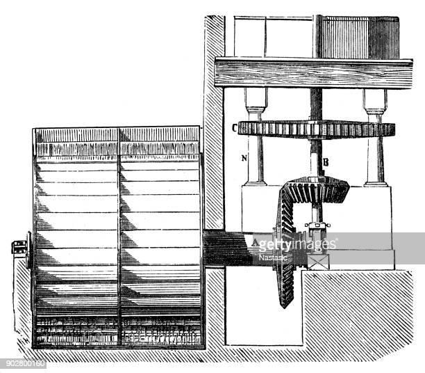 ilustraciones, imágenes clip art, dibujos animados e iconos de stock de sección de molino de agua - molino de viento