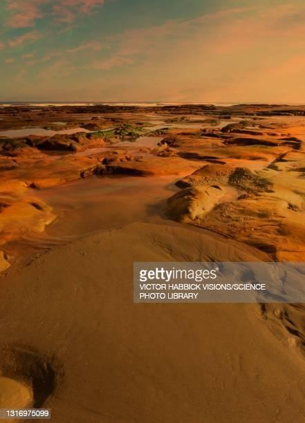 water on mars, illustration - the past stock illustrations