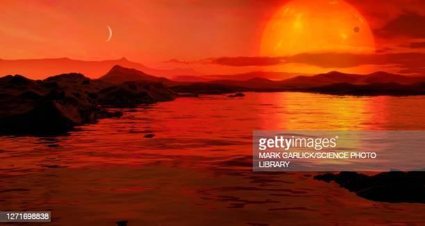 water on proxima b - extrasolar planet stock illustrations