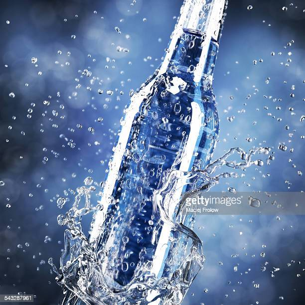 water splash and bottle - vodka stock illustrations, clip art, cartoons, & icons