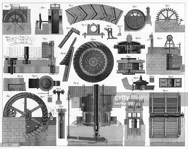 water wheel engraving - turbine stock illustrations, clip art, cartoons, & icons