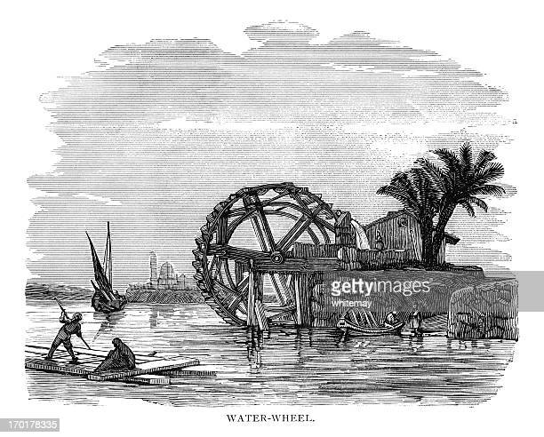 Water wheel on the River Nile - Victorian engraving