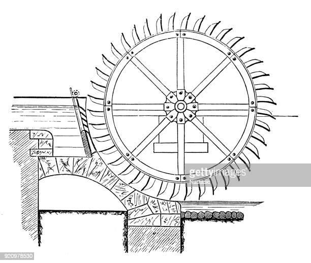illustrazioni stock, clip art, cartoni animati e icone di tendenza di turbina a ruota idraulica - mulino ad acqua