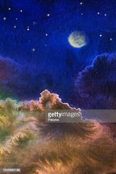 水彩抽象夜の風景