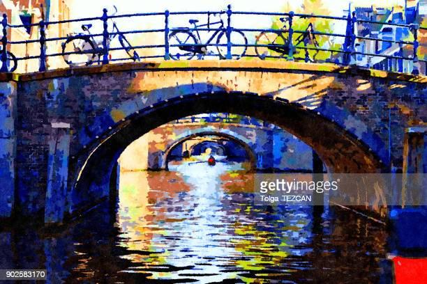 watercolor amsterdam - amsterdam stock illustrations, clip art, cartoons, & icons