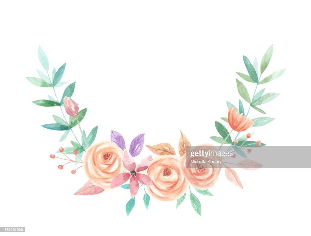 Watercolor Arch Flower Bouquet Arrangement Spring Summer Flowers