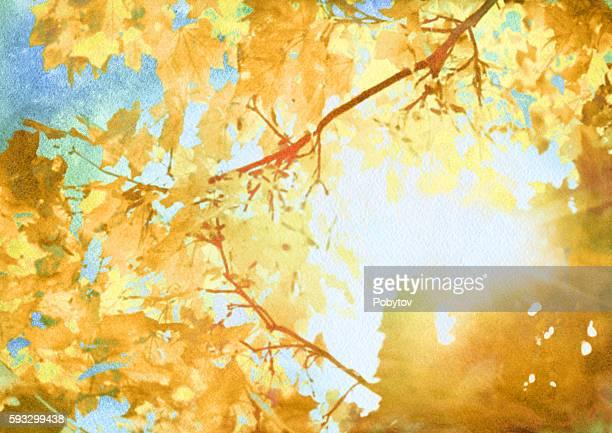watercolor autumn art background
