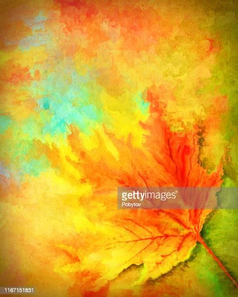 watercolor autumn background - autumn stock illustrations