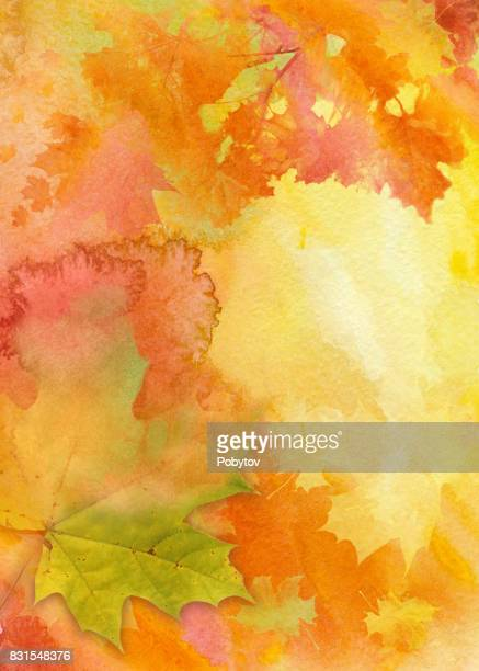 watercolor autumn background - vertical stock illustrations