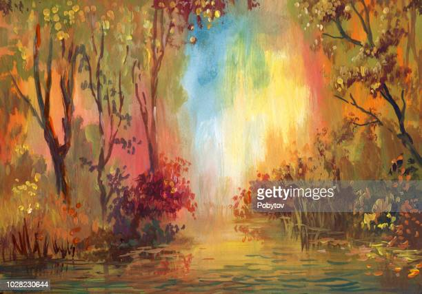 watercolor autumn landscape - horizontal stock illustrations