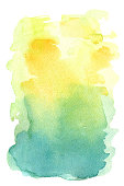 hand painted watercolor background yellow turquoise