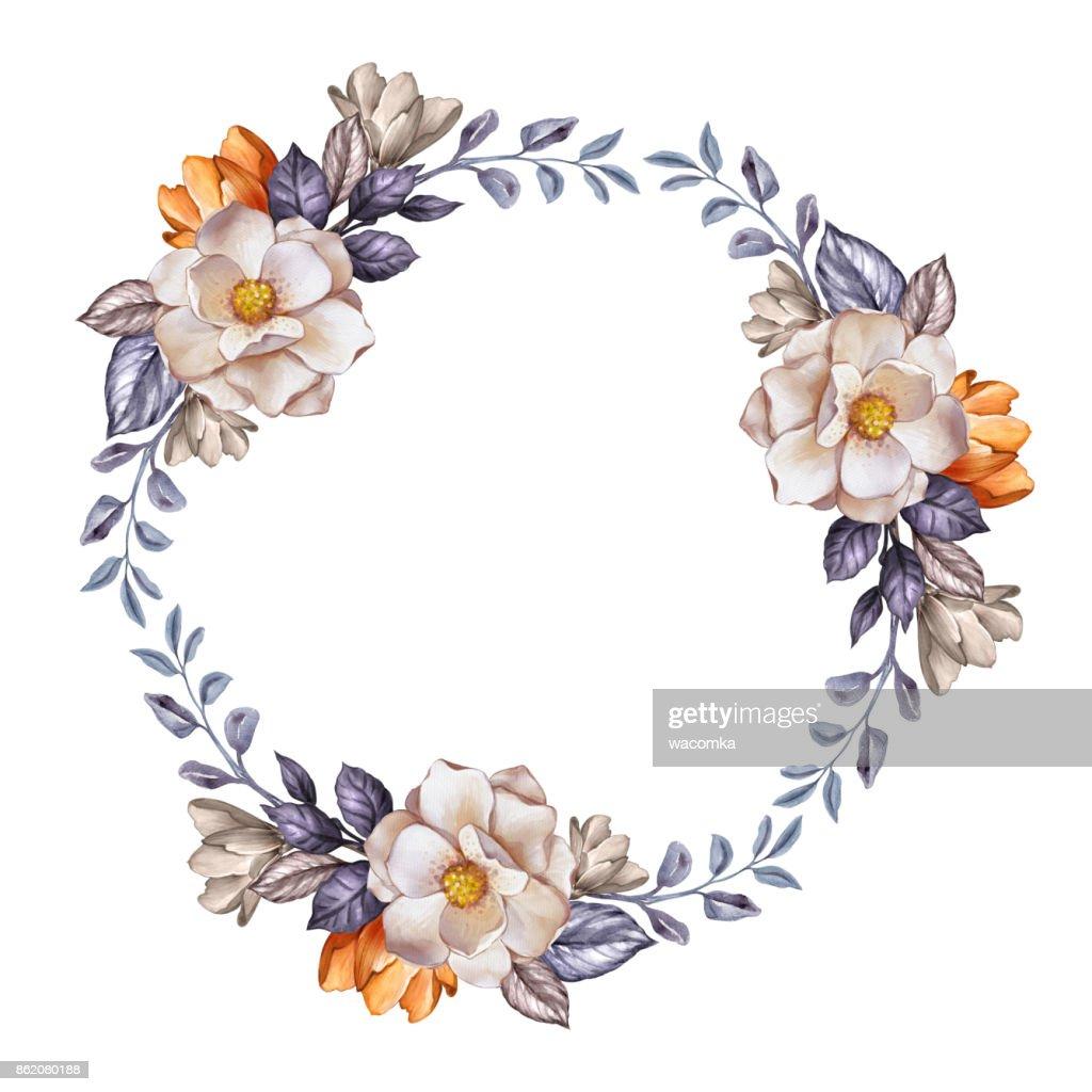 Hochzeit Blumen Kranz Herbstblumen Getrocknete Blätter Runden Rahmen ...