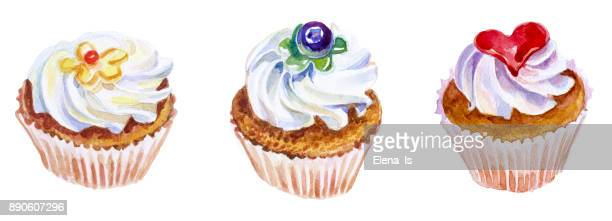 watercolor cakes isolated on white background