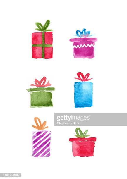 watercolor christmas presents isolated on white background - stehen stock illustrations