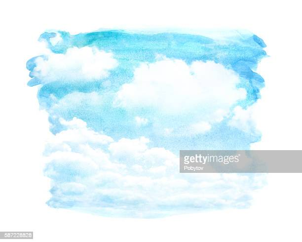 watercolor cloud - overcast stock illustrations, clip art, cartoons, & icons