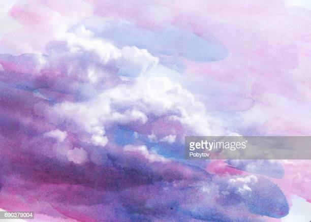 watercolor clouds - cloud sky stock illustrations, clip art, cartoons, & icons