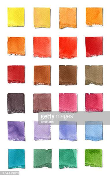 watercolor color chart (clipping path) - cut or torn paper stock illustrations, clip art, cartoons, & icons