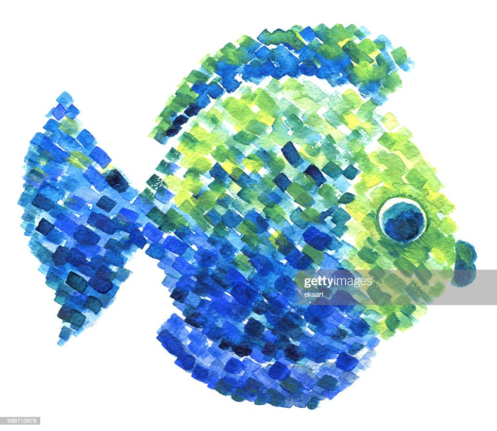 Watercolor Colorful Fish In Pointillism Style Stock Illustration ...