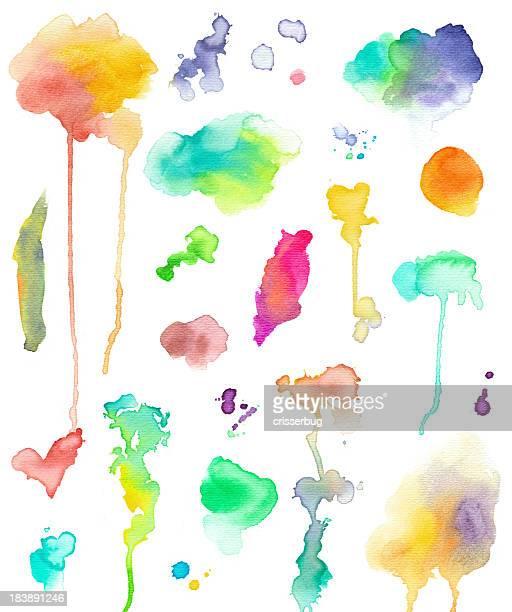 aquarell-elemente - aquarell fleck stock-grafiken, -clipart, -cartoons und -symbole