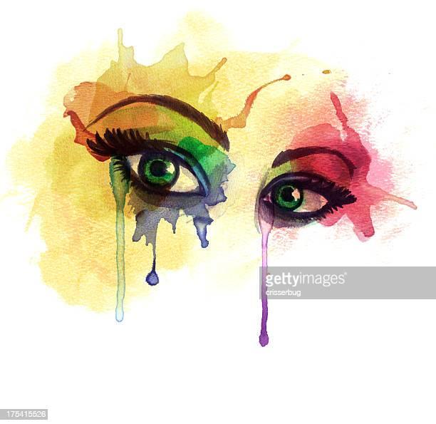 水彩画目 - 泣く点のイラスト素材/クリップアート素材/マンガ素材/アイコン素材